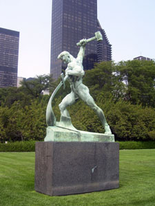 UN swords into plowshares statue
