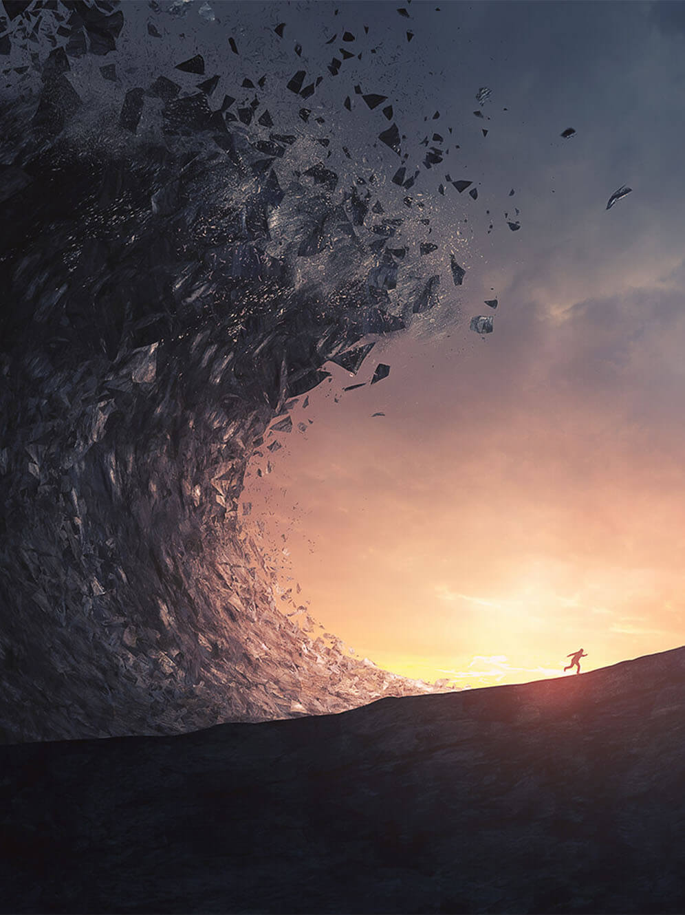 Crashing wave over a man running into the sunset