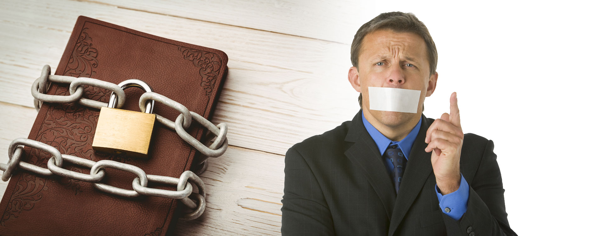 chained bible next to a person with tape over their mouth