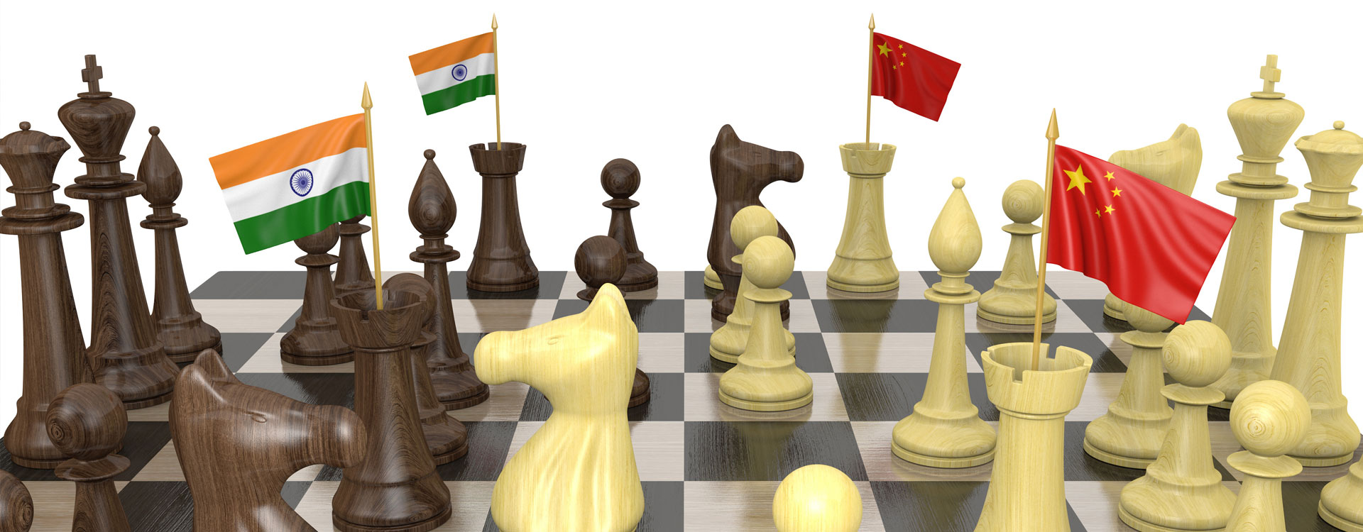 chessboard with flags of China and India