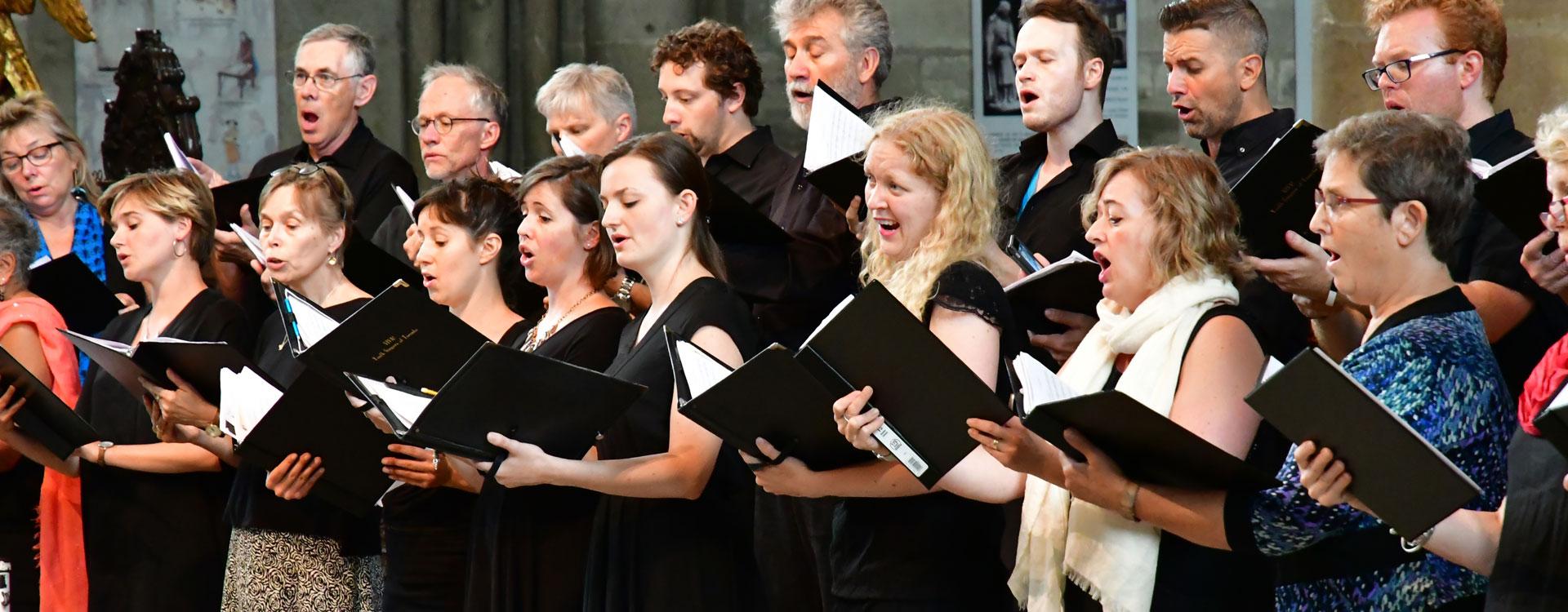 people singing in a choir