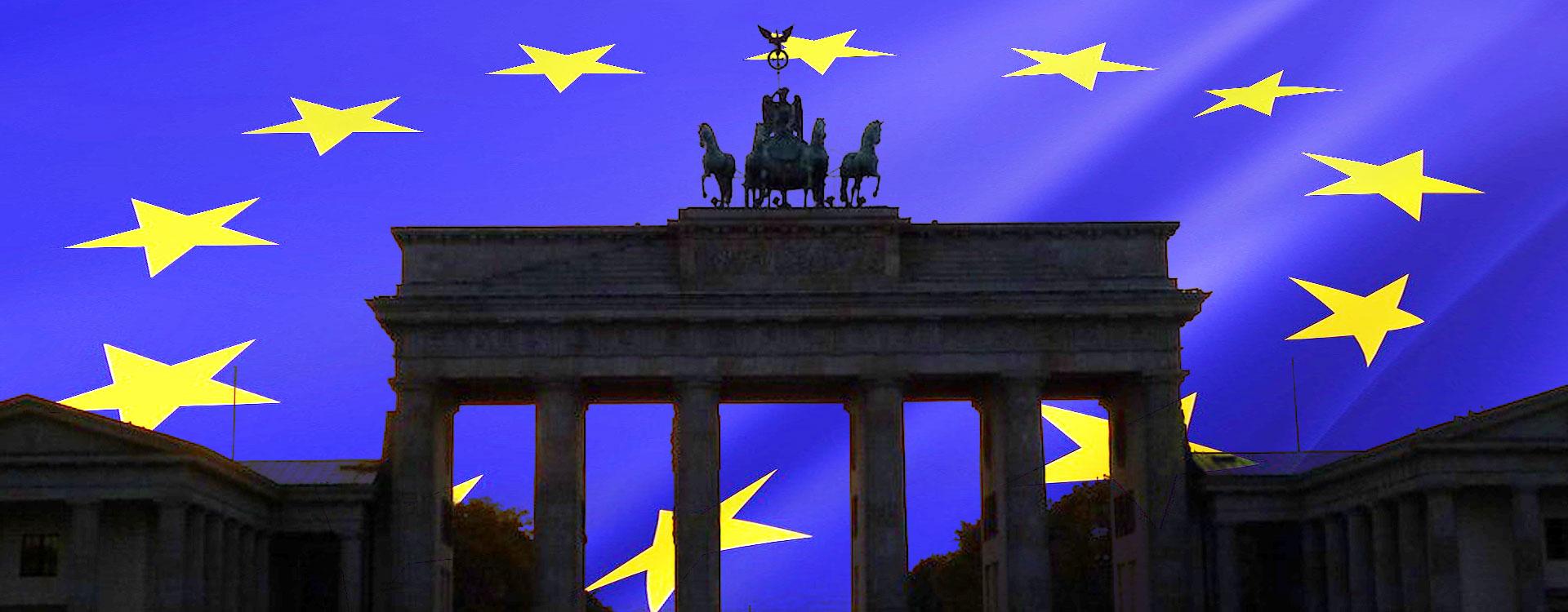 brandenburg gate and eu flag