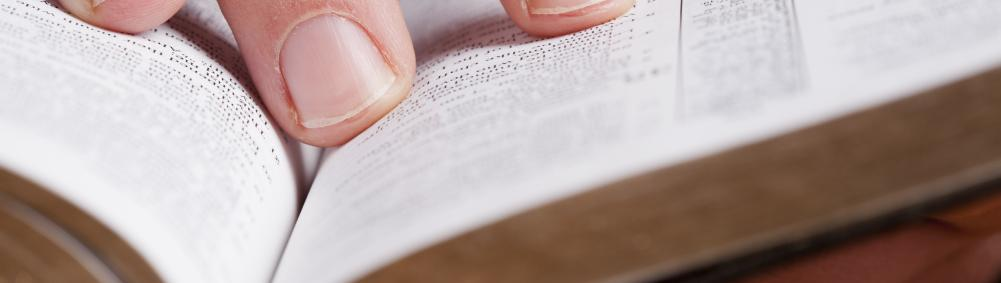 hand thumbing through Bible