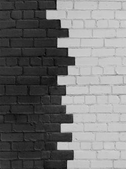 Black and white bricks divided wall