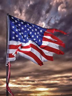 Tattered American flag second civil war