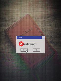 Cancel the Bible with Windows dialogue box
