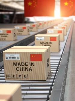Made in China boxes with Chinese flags