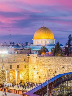 Jerusalem at twilight with dome of the rock and wailing wall