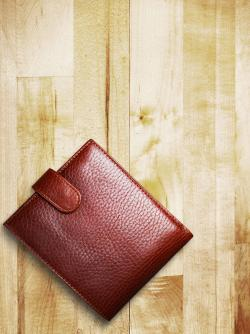 Wallet on a wooden table