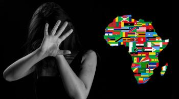 map of Africa and woman holding up hand defensively