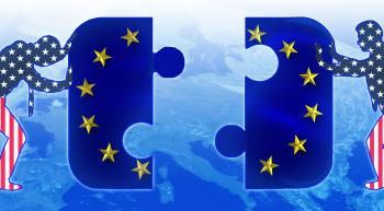 two people with stars and stripes pushing two giant puzzle pieces together that make up the EU flag