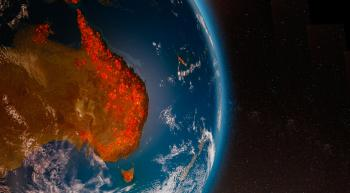 artist rendering the continent of australia ablaze