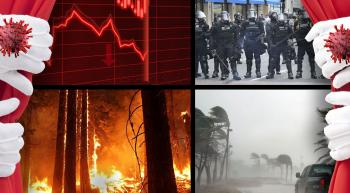 curtains pulled back revealing fires floods crashing economy and riot police