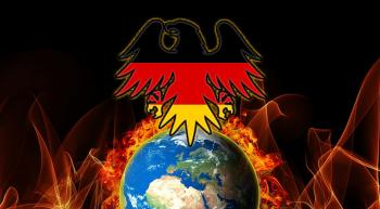 German eagle rising out of a burning world
