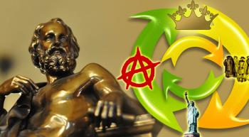 Statue of Plato and cycle showing monarchy, oligarchy, democracy and anarchy