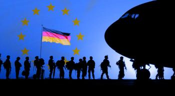 soldiers boarding a plane, EU stars and German flag in the background
