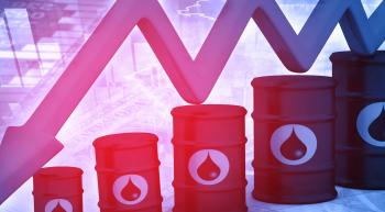 oil barrels and a downward trending arrow