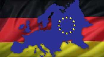 german flag with europe superimposed upon it