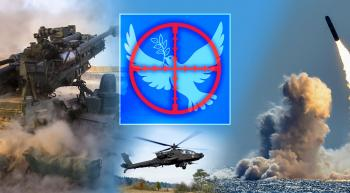 collage of war scenes and a dove of peace in the crosshairs