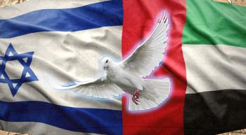 Flags of Israel and UAE with a dove between them