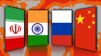 The flags of Russia, India, China and Iran