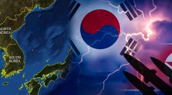 flags and map of Korea and missile silhouette