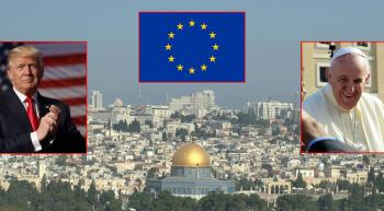 Jerusalem with popouts of Trump, the Pope, and an EU flag