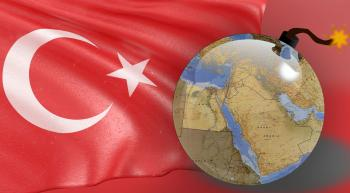 Turkey flag and bomb with middle east printed on it