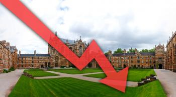 Oxford University with a down-trending arrow