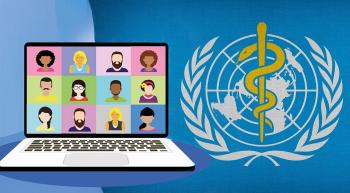 online meeting on a laptop next to World Health Organization logo