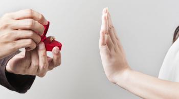 woman refusing marriage proposal