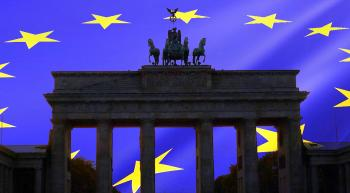 brandenburg gate and eu flag