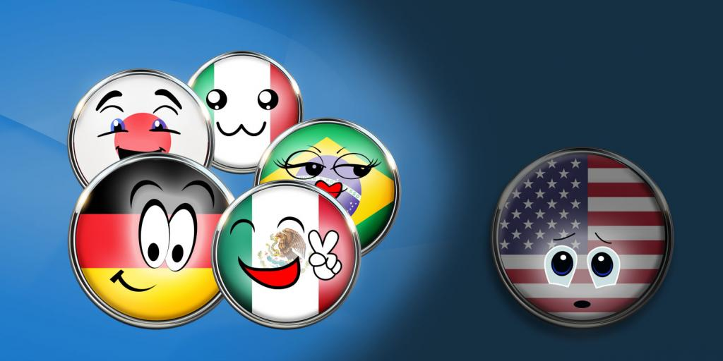 cartoon flags smiling and a sad american flag