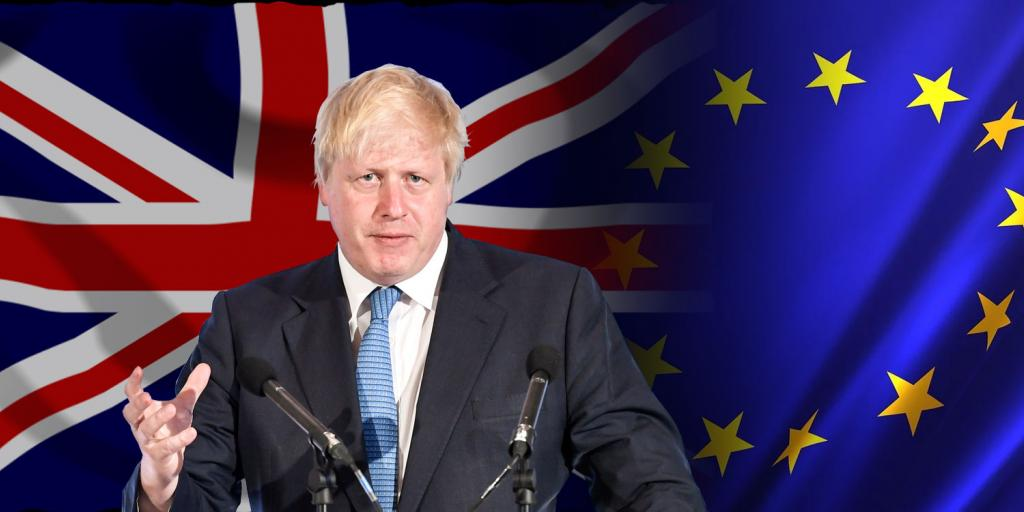 Boris Johnson in front of British and EU flags