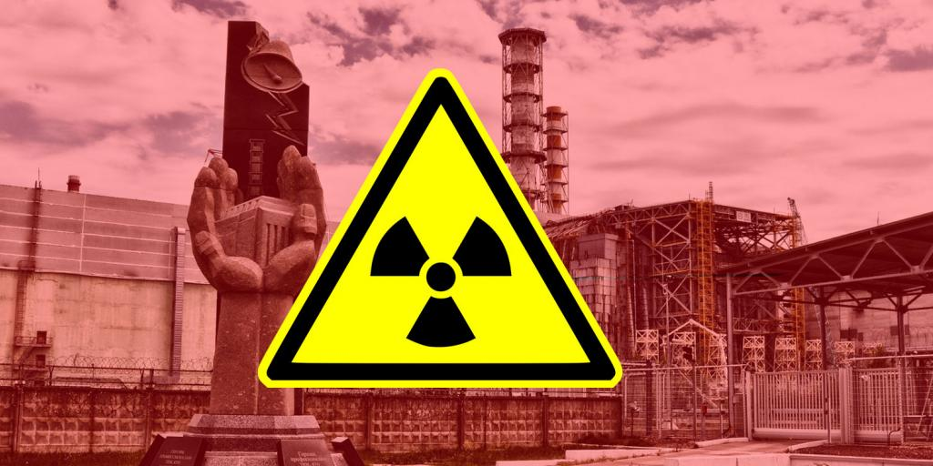 chernobyl nuclear reactor with radioactive sign