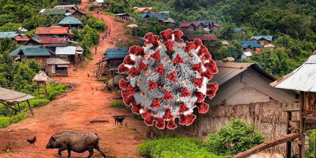 Laos village with coronavirus superimposed