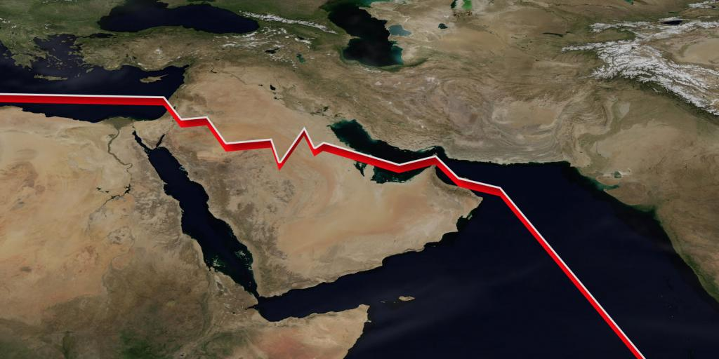 a jagged line running through a map of the Middle East