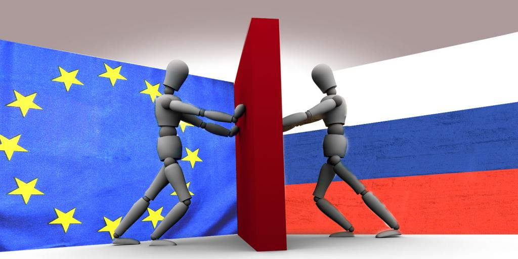 Europe man and Russian man pushing on opposite sides of a wall