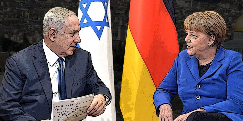 Netanyahu and Merkel with German and Israeli flags