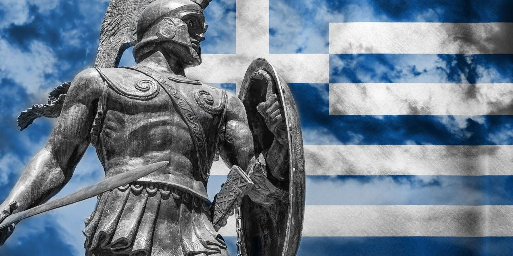 Ancient Greek soldier with modern Greek flag