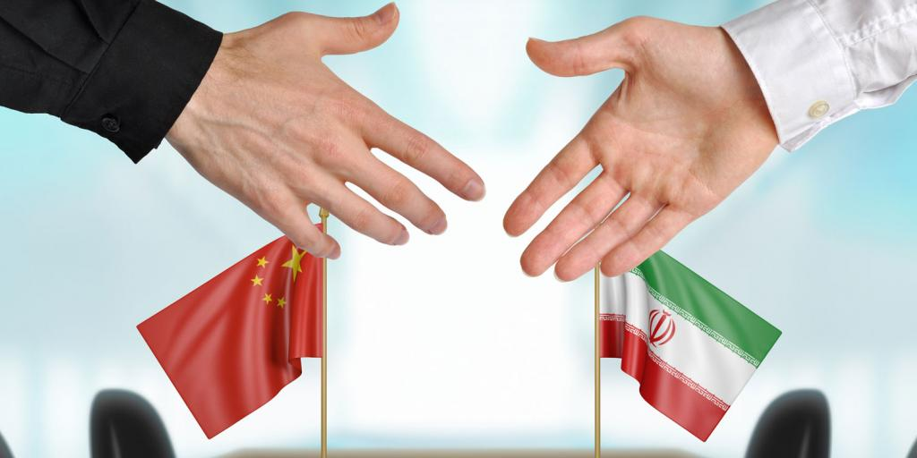 shaking hands and Iran and China flags