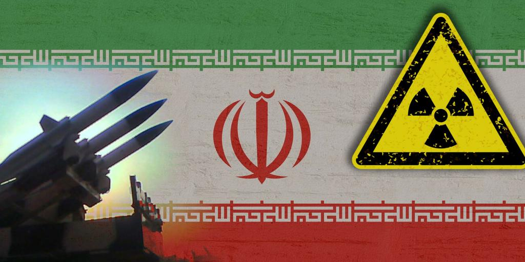 Iranian flag with silhouette of missiles and a radiation symbol