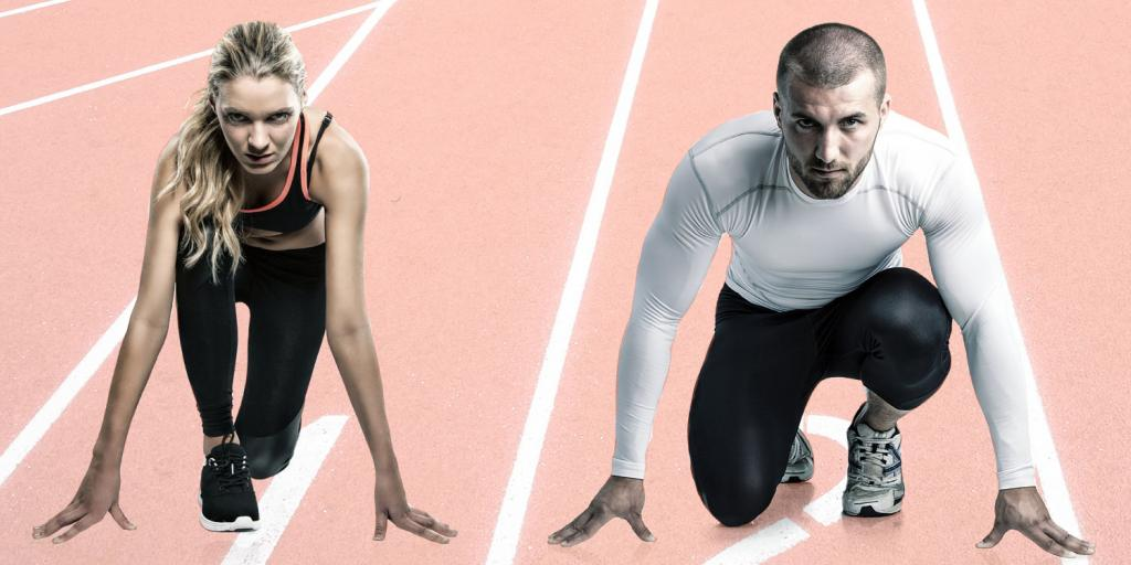 man vs. woman on the track