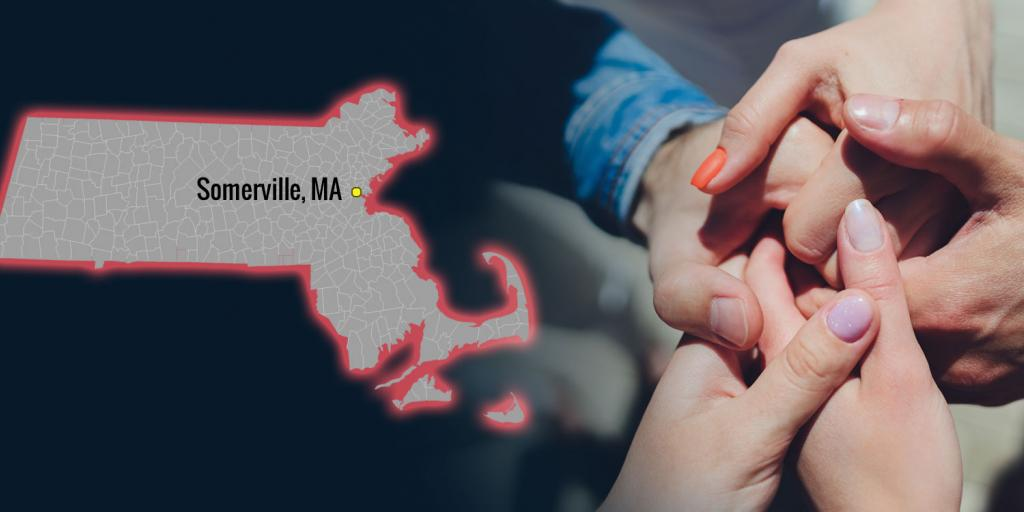 map showing Somerville, MA and a group of five holding hands