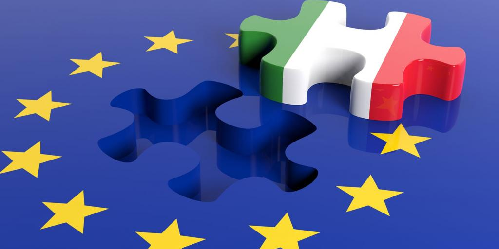 EU flag with puzzle piece removed showing Italy flag