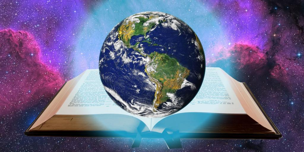 earth floating over an open Bible