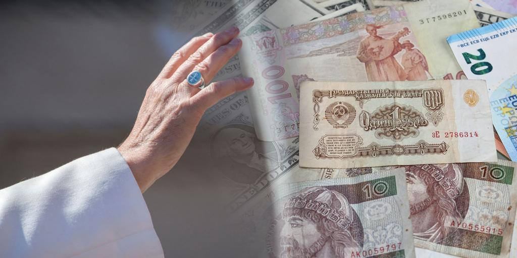popes hand stretched towards different types of currency