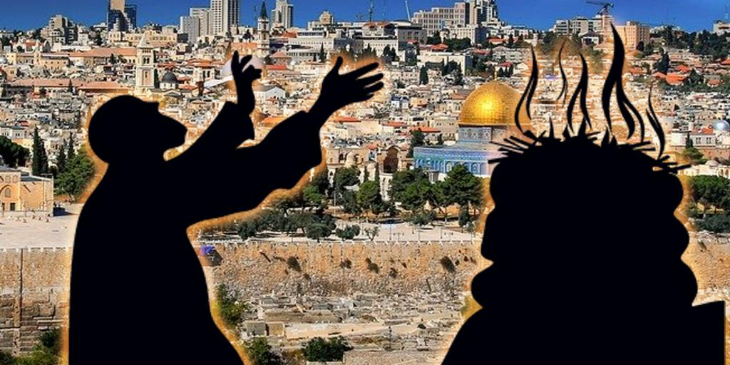 view of Jerusalem with man making burnt offering in silhouette