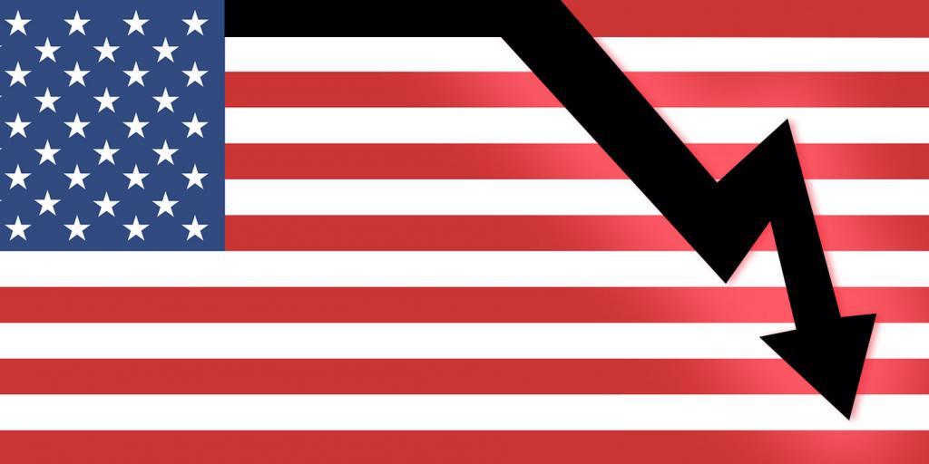 U.S. flag and sharply downward trending arrow