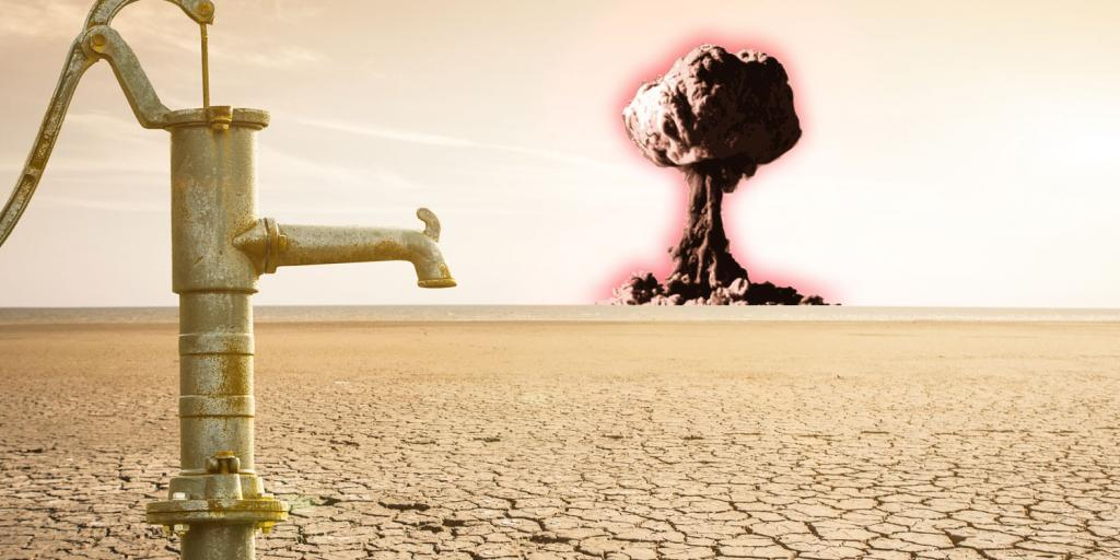 water pump on parched earth with nuclear blast on horizon
